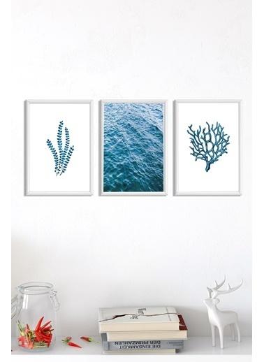 Lyn Home & Decor Mavi Seri Çerçeveli Poster 3 Lü Tablo 3 Adet 23,5X33,5 Beyaz